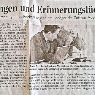 Bericht2 Fachanwalt für Strafrecht in der Zeitung und Presse zum Strafprozess wegen Rockerbanden und Messerstichen