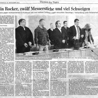Bericht3 Fachanwalt für Strafrecht in der Zeitung und Presse zum Strafprozess wegen Rockerbanden und Messerstichen