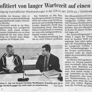 Bericht4 Fachanwalt für Strafrecht in der Zeitung und Presse zum Strafprozess wegen Gewalt unter Insassen der JVA Cottbus