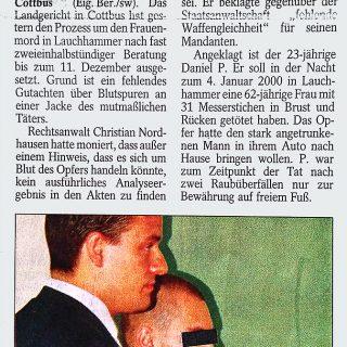 Bericht5 Fachanwalt für Strafrecht in der Zeitung und Presse zum Strafprozess des Lauchhammer Mord