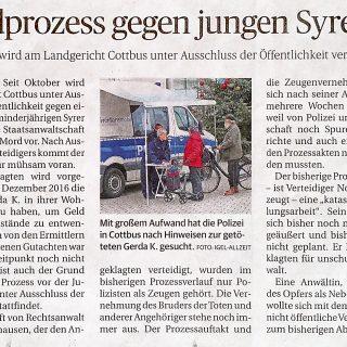 Bericht6 Fachanwalt für Strafrecht in der Zeitung und Presse zum Strafprozess des Mordes an der Cottbuserin Gerda K.