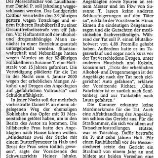 Bericht7 Fachanwalt für Strafrecht in der Zeitung und Presse zum Strafprozess des Lauchhammer Mord
